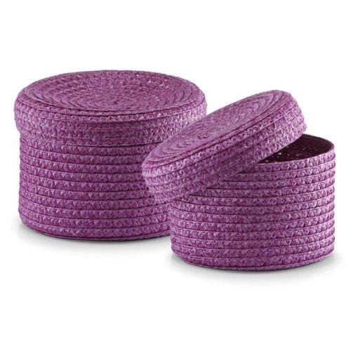 zeller-basket-with-lid-plastic-purple-2-piece