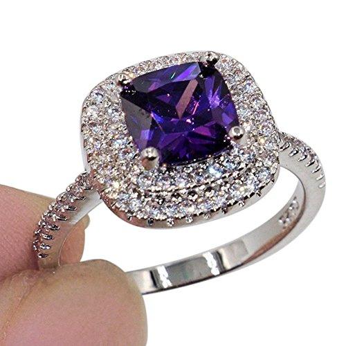yibenwanligod Shiny Large Square Faux Topaz Ring Women Party maßgeschneiderte Schmuckdekor-Purple ()