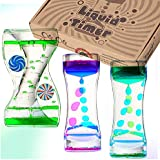 OBEDA 3 Pack Liquid Motion Timer - Funny Sensory Toy for Relaxation - Floating Color Lava Lamp Timer - Incredibly Effective Calming Toy for Kids & Relaxing Liquid Bubbler Timer for Adults