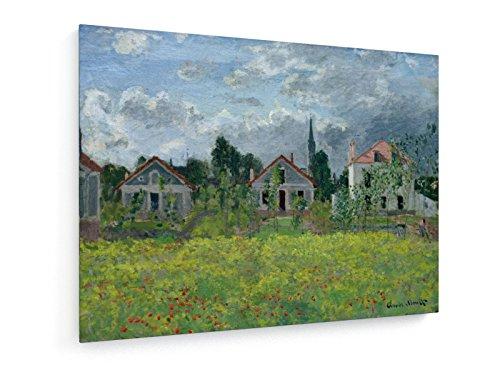 Foto-impressionismus (Claude Monet - Häuser in Argenteuil - 1873 - 80x60 cm - Textil-Leinwandbild auf Keilrahmen - Wand-Bild - Kunst, Gemälde, Foto, Bild auf Leinwand - Alte Meister / Museum)
