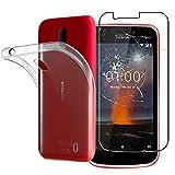 ebestStar - Coque Nokia 1 [Dimensions PRECISES de votre appareil : 133.6 x 67.8 x 9.5 mm, écran 4,5''] - Housse Coque Silicone Gel Souple ULTRA FINE INVISIBLE + Film protection écran en VERRE Trempé, Transparent