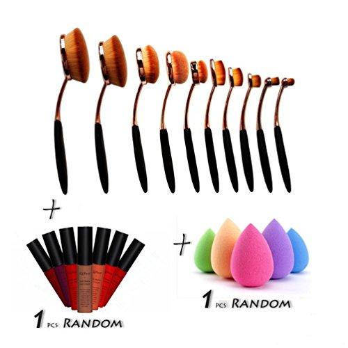 timesong Pro Maquillage Lot de maquillage Golden Rose Brosse à dents Brosse Poudre Fard à Joues Fond de Teint Visage Outil + 1 brillant à lèvres + sans Puff éponge