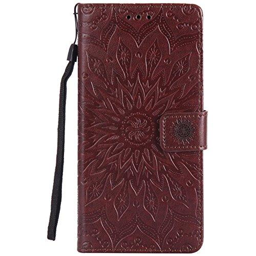 YHUISEN Sony C6 Case, Sun Flower Druck Design PU Leder Flip Wallet Lanyard Schutzhülle mit Card Slot / Stand für Sony Xperia XA Ultra / C6 (6,0 Zoll) ( Color : Pink ) Brown