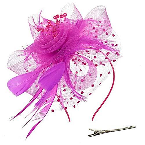 Retro Haarschmuck Kopfschmuck Feder Kopf Blume Plus Perlen Blume Mesh Stirnband Zubehör (Farbe : Rose rot) ()