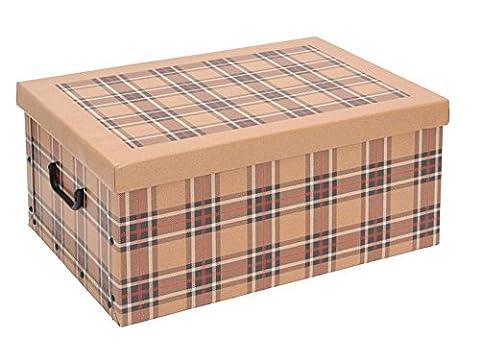 Boite Carreaux Beige - 2 x Boîte de rangement avec couvercle