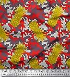 Soimoi Grun Poly Georgette Stoff Camouflage Texture &