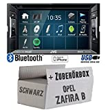 Opel Zafira B schwarz - Autoradio Radio JVC KW-V240BT - DVD Bluetooth MP3 USB - Einbauzubehör - Einbauset