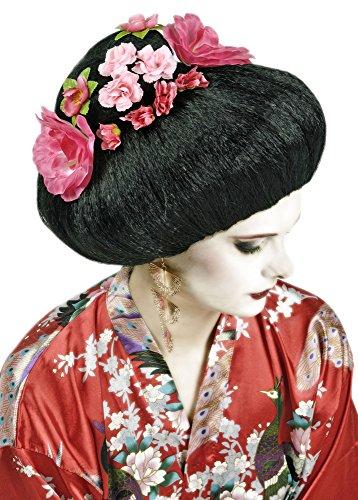 Geisha Perücke Geiko mit Blüten - Schwarz Pink - Zubehör Kostüm Chinesin Japanerin Asiatin (Japanische Geisha Kostüme Zubehör)