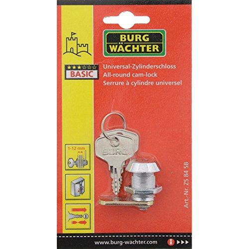 BURG-WÄCHTER Universalzylinder, Zinkdruckguss, Vernickelt, 1 Schließriegel, Mit Befestigungsmutter, 2 Wendeschlüssel, ZS 84 SB - 5