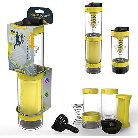 Intelishake - Multi-Compartimento Proteínas / Entrenamiento / Jugo Botella (2 x 500ml) agitadora con filtro de carbón para Deportes, Ejercicio y Gimnasio - abejorro amarillo