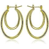 Par de pendientes con forma de aros ovalados, en oro de 9 quilates, de Paksho. Joyería de oro de estilo europeo