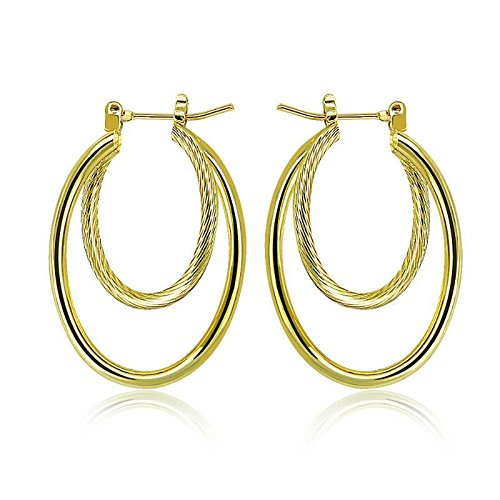 PAKSHO 9ct Gold with Inlaid Bronze2 twist Ladies Hoop Earrings,Jewelry European Style (Oval Gold earrings for Womens)