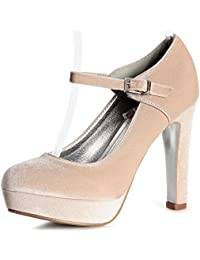 topschuhe24 1313 Damen Riemchen Pumps High Heels Velours, Größe:40, Farbe:Blau