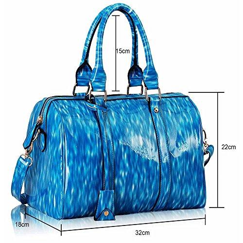 Trend Star Ladies Fashion Handbag Ladies Bowling Brevetto Barrel Shoulder Bag Blu