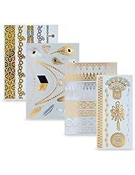Flash Tattoos 4er Set – Temporäre metallic Klebe-Tattoos in Gold und Silber – Perfekt als Körper-Schmuck für den Urlaub oder als Geschenk für Mädchen und junge Frauen – von Ahimsa Glow®