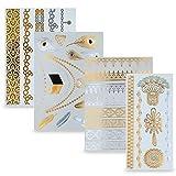 Temporäre Klebe-Tattoos 4er Set mit 34 Motiven | Metallic Flash Tattoos in Gold und Silber | Perfekt als Körper-Schmuck für den Urlaub oder als Geschenk für Mädchen und junge Frauen – von Ahimsa Glow®