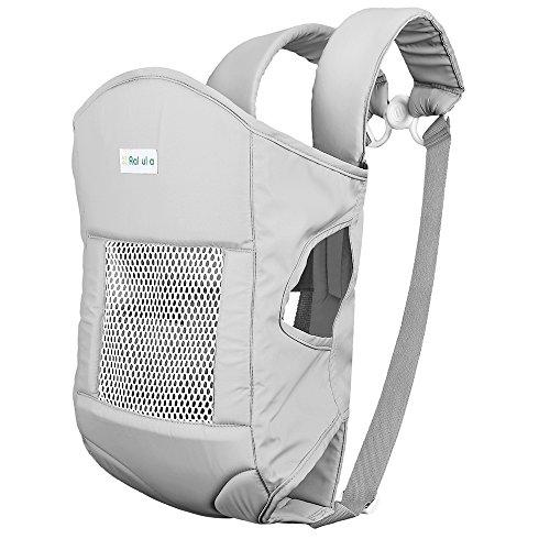 Baby Carrier Rakuka Embrace-02 Marsupio Porta bebè con ampio tessuto cuscino del sedile traspirante usura del bambino per 6,5 kg a 15 kg (Taglia 2, Argento)