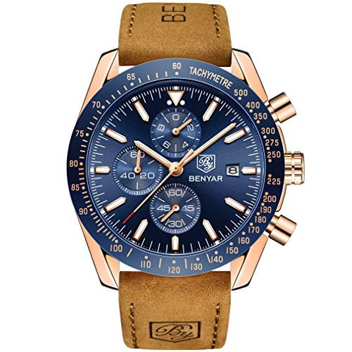 Benyar Herren-Armbanduhr, wasserdicht, modisch, lässig, Lederband, Braun/Blau