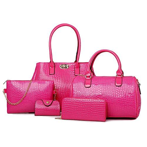 X&L Damen Mode Taschen PCs schräge Krokodil Schulter Handtasche multicolor rose red