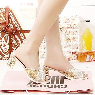 LvYuan Da donna-Pantofole e infradito-Formale Casual-Comoda-Quadrato-PU (Poliuretano)-Argento Dorato Silver