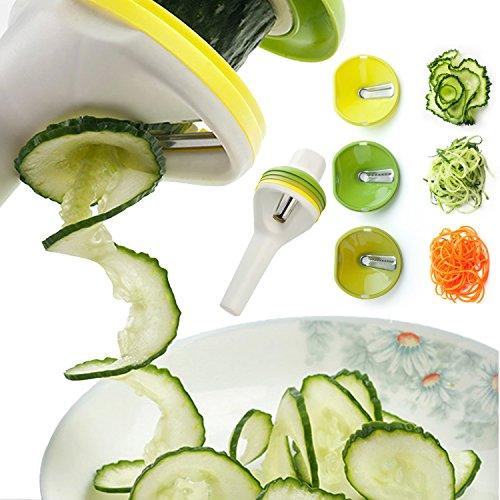 Spiralschneider mit 3 klingen, Premium Kitchen Aid - Hand Gemüseschneider, Julienne Schneider Sprals Shneider für Karotte, Gemüsespaghetti, Spaghetti, Kartoffel, Gemüse, Rettich, Möhren, Rettich