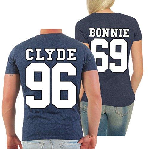 Partnershirt BONNIE & CLYDE 69 (mit Rückendruck) FRAU navy meliert
