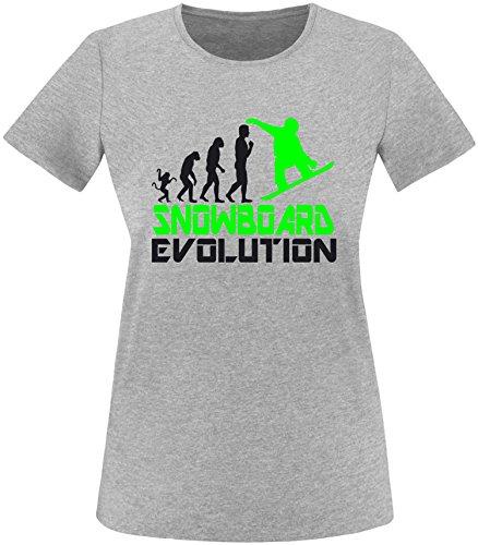 EZYshirt® Snowboard Evolution Damen Rundhals T-Shirt Grau/Schwarz/Neongr