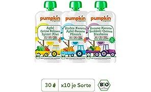 Pumpkin Organics POWER PACK Bio Gemüse Quetschies, 30er Pack (30 x 100g) - Snacks für Kinder und Babys ab dem 12. Monat