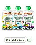 Pumpkin Organics POWER PACK Bio Baby-Brei (Zauber, Wonne, Happy) Quetschbeutel 30er Pack (30 x 100g) - Für Kinder und Babys ab dem 12. Monat