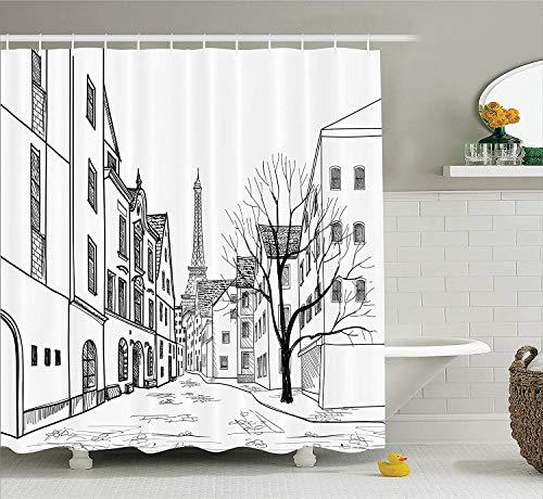 Ensemble de rideaux de douche décoratifs de la rue de Paris avec maisons, bâtiments et arbre sur l'allée de la Tour Eiffel sur le fond, accessoires de salle de bain, 152,4 x 182,9 cm, noir et blanc