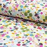 Brittschens Stoffe und Zutaten Stoff French Terry Konfetti Punkte im Watercolor Look - Stoff zum Nähen - Meterware ab 50cm - versch. Farben - Kinderstoff (auf weiß)
