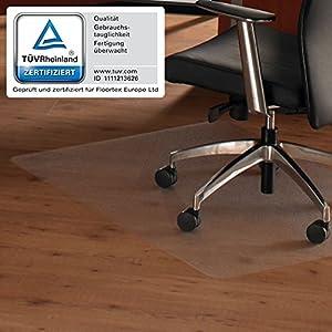 Floortex 619510 Bodenschutzmatte ULTIMAT II 120 x 150 cm Transparent Hartboden 100% Polycarbonat TÜV Zertifiziert