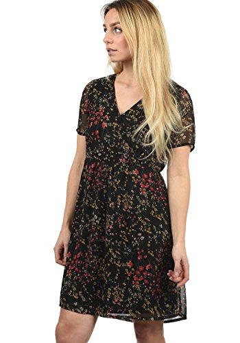 BlendShe Charlotte Damen Freizeitkleid Kleid Mit V-Ausschnitt Knielang, Größe:XL, Farbe:Black Printed Flower (20111) -