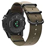 Fintie Armband für Garmin Fenix 3 / Fenix 3 HR/Fenix 5X / Fenix 5X Plus Smart Watch - Premium Nylon atmungsaktive Uhrenarmband Sport Armband verstellbares Ersatzband mit Edelstahlschnallen, Khaki