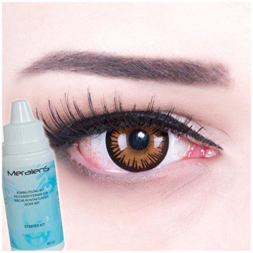 fun Kontaktlinsen ohne Stärke crazy contact lenses Eternal Amber 1 Paar zu Karneval, Halloween, Fasching und Kostüm mit gratis Behälter und 60ml Pflegemittel. TOPQUALITÄT! (Anime Paar Kostüme)