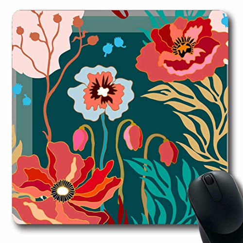 Luancrop Mauspads für Computer Boho Pink Abstract Herbstfarben Schal Blooming Poppies Carpet Flower Grünes Muster Floral Vintage rutschfeste Oblong Gaming Mouse Pad -