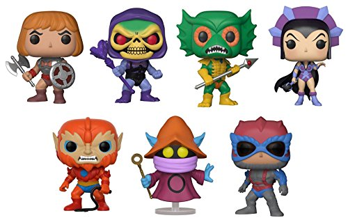 FunkoPOP Masters Of The Universe Battle armor He Man Battle armor Skeletor Merman Evil Lyn Beast Man Orko Stratos Cartoon Vinyl 7 Figure Bundle Set NEW