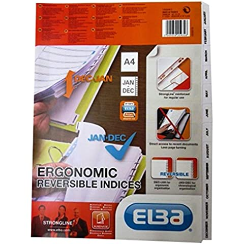 Elba A4ergonomico reversibile mensile cartella indice Divisori–dimensioni 297mm x 225mm