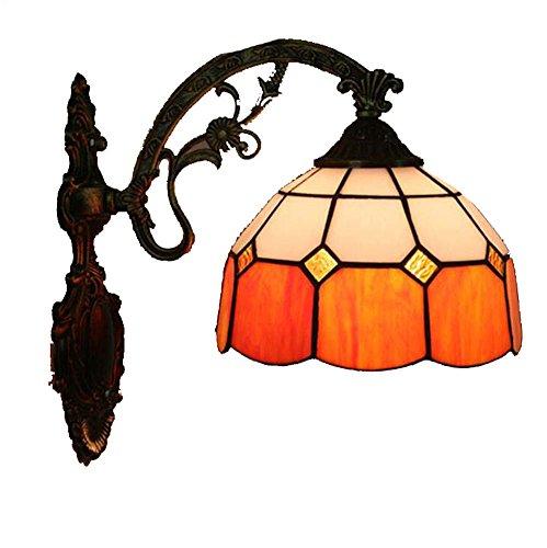 Amerikanischen Mittelmeer Tiffany Style Wandleuchte Handmade Glasmalerei Wandleuchte Korridor Lichter Schlafzimmer Wohnzimmer Nachttischlampe Dekoration E27 (Farbe : Orange) Land-charme-kerze