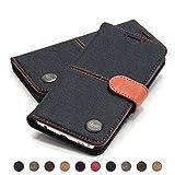 QIOTTI - Galaxy S6 Tasche Leder Case I Ledertasche Kartenfach Echtleder Hülle Lederhülle Ledercase Handyhülle Echtledertasche in Denim Rot