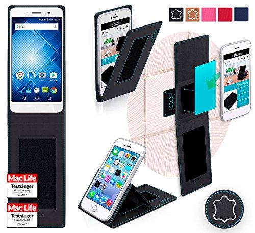 reboon Hülle für Panasonic Eluga I3 Mega Tasche Cover Case Bumper | Schwarz Leder | Testsieger