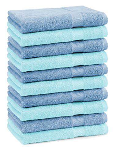 BETZ Lot de 10 serviettes débarbouillettes lavettes taille 30x30 cm en 100% coton Premium couleur bleu clair et turquoise