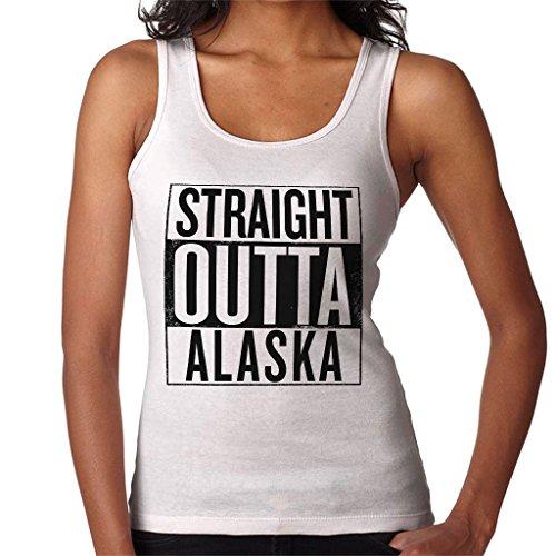 Coto7 Black Text Straight Outta Alaska US States Women's Vest White
