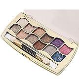 OVERMAL Nouvelle 12 Couleurs Femmes Pro Fard à PaupièRes Palette & Cosmetic Pinceau De Maquillage De Shimmer Ensemble