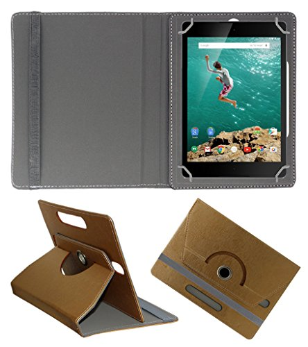 Acm Designer Rotating 360° Leather Flip Case For Htc Google Nexus 9 Tablet Stand Premium Cover Golden  available at amazon for Rs.339