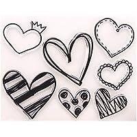HEALLILY Sellos Claros Sellos de Silicona Sellos Decorativos Del Corazón para Hacer Tarjetas DIY Scrapbooking Álbum de Fotos Decoración Del Diario