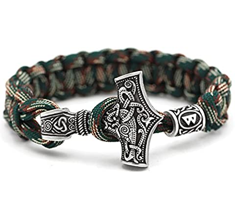 Viking Wikinger 100% Handarbeit Outdoor Buntes Grün einzigartiges Paracord Thor Hammer Thorhammer Armband Antike Silber Armreif Raven Anhänger Nordisch Keltisch Runen Charm Perlen 48