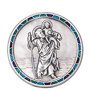 Fritz Cox® Automedaille Christophorus modern, mit Mosaik-Rand blau