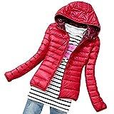 Shujin Damen Winter leicht Übergangsjacke Steppjacke mit Kapuze Daunenjacke zusammenklappbar Warm mit Reißverschluss kurz Jacke