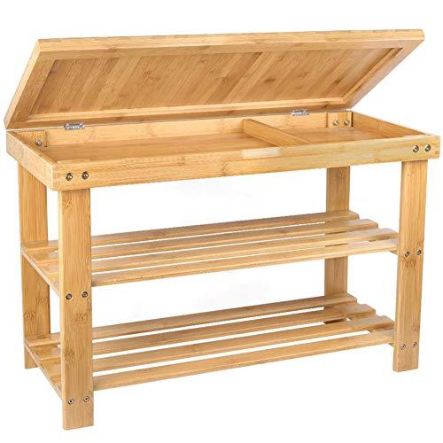 Bakaji panca scaffale scarpiera portascarpe casa multiuso 2 scaffali legno di bambu dimensione 70x28x45cm colore bamboo naturale (seduta apribile)